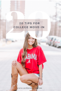 20 Tips for college move-in day. Ideas for organizing packing for college, and practical tips for setting up your college dorm room. For more posts in The College Series check out www.carolinealvarado.com