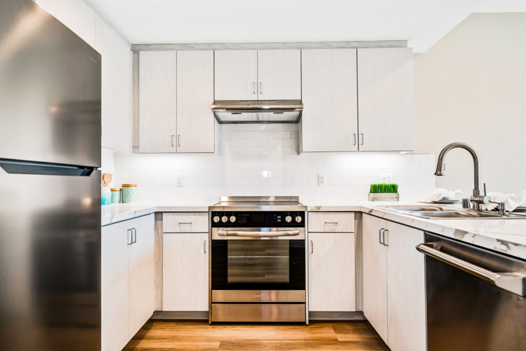 Looking into the kitchen of the one-bedroom apartment unit.
