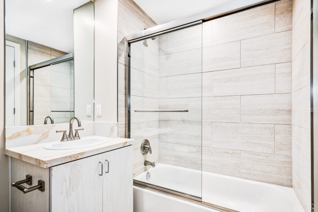 Inside the bathroom of the two-bedroom apartment unit.