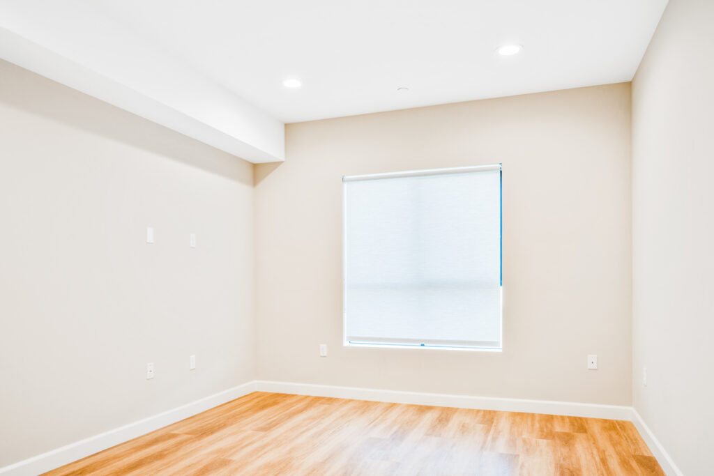 Inside the master bedroom within the two-bedroom apartment unit.