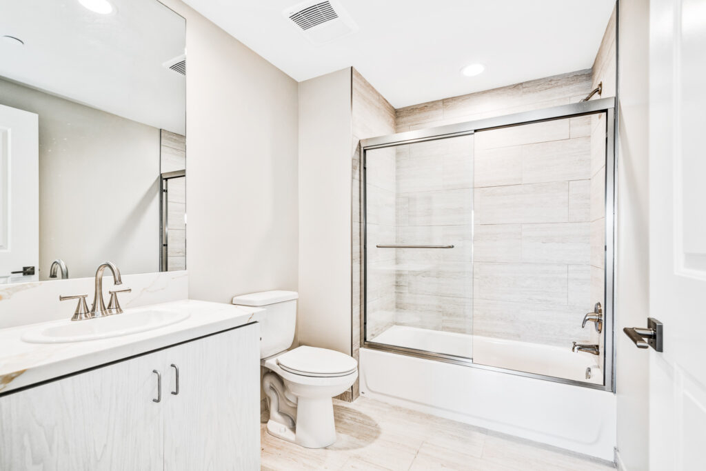The master bathroom from within the two-bedroom apartment unit.