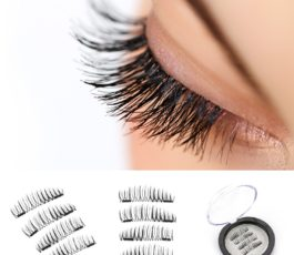 VereBeauty Long Dual Magnetic False Eyelashes, Natural Look, Most Glamorous 3D Ultra Soft, Natural Look, Glue Free Handmade Reusable False Eyelashes (1 Pair/4 Pcs)
