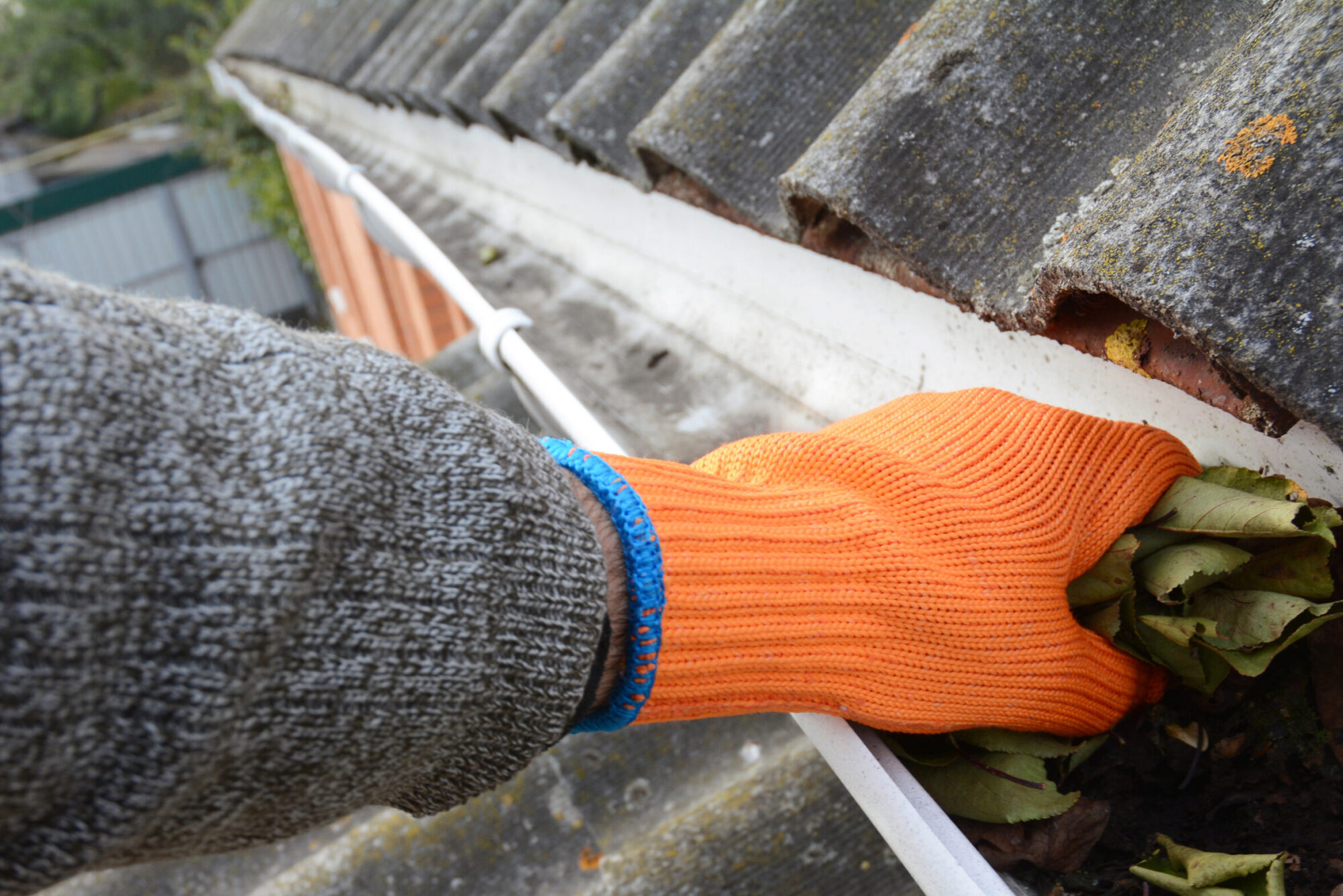 Cleaning the gutters of leaves