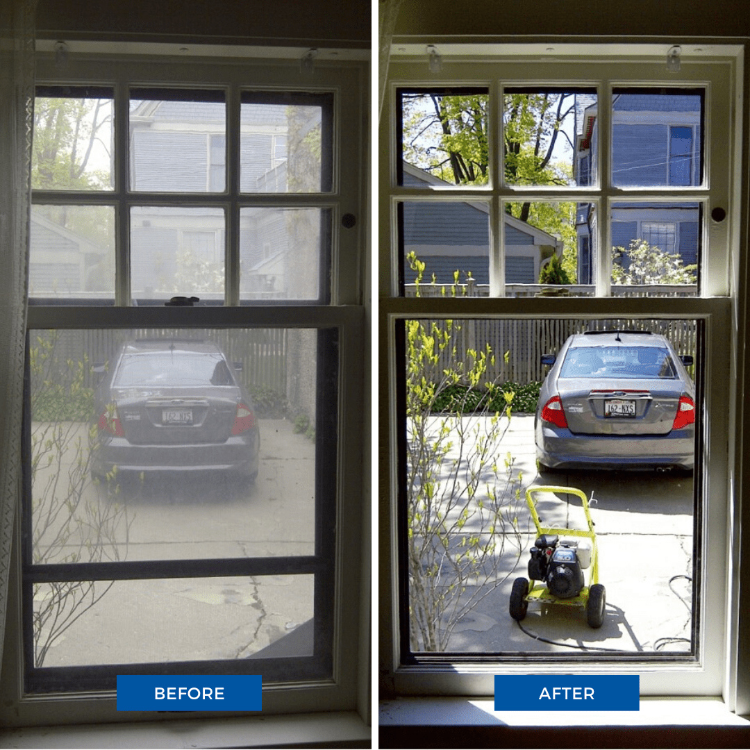 Before and after window cleaning