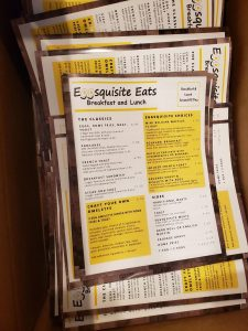 Menus Printed for Eggsquisite Eats, A New Breakfast & Lunch Spot on the Island