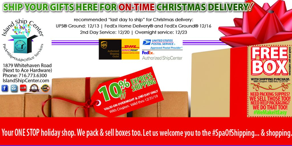 Last Days to Ship to Get On Time Delivery of Your Christmas Gifts