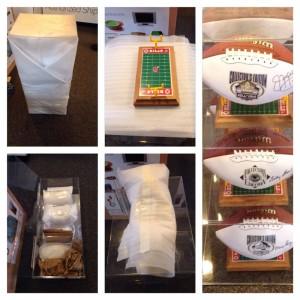 Signed footballs in trophy case