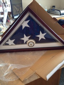 Former Navy Veteran - Flag passed on to his family in California - packed and shipped