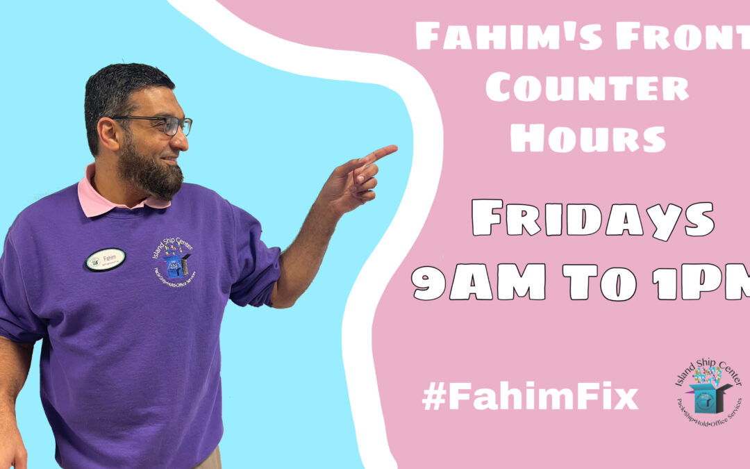 Fahim's Front Counter Hours This Year