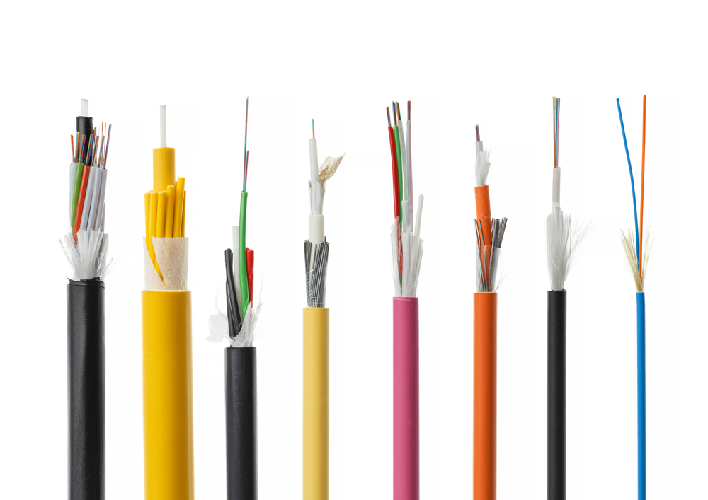 Fiber optic cables lined up in a row