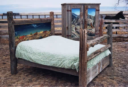 Fence post bed by Our Heritage Guest Ranch