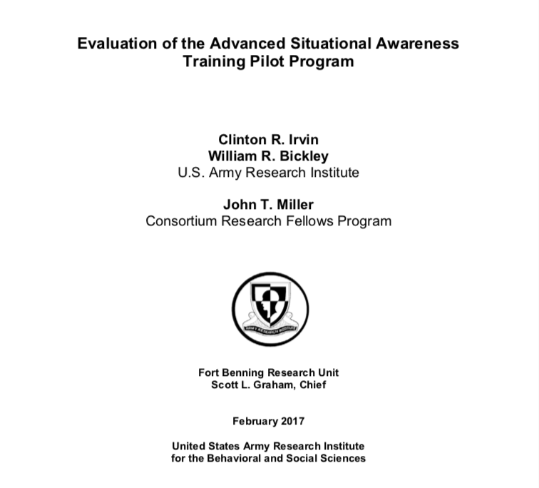 <strong>Evaluation of the Advanced Situational Awareness Training Pilot Program</strong>