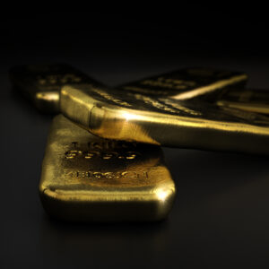 3D illustration of gold bullion bars over black background with copyspace on the left,  horizontal image. Gold market concept.