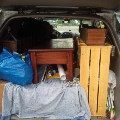The van packed for the young man's move