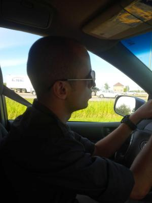 The young man driving