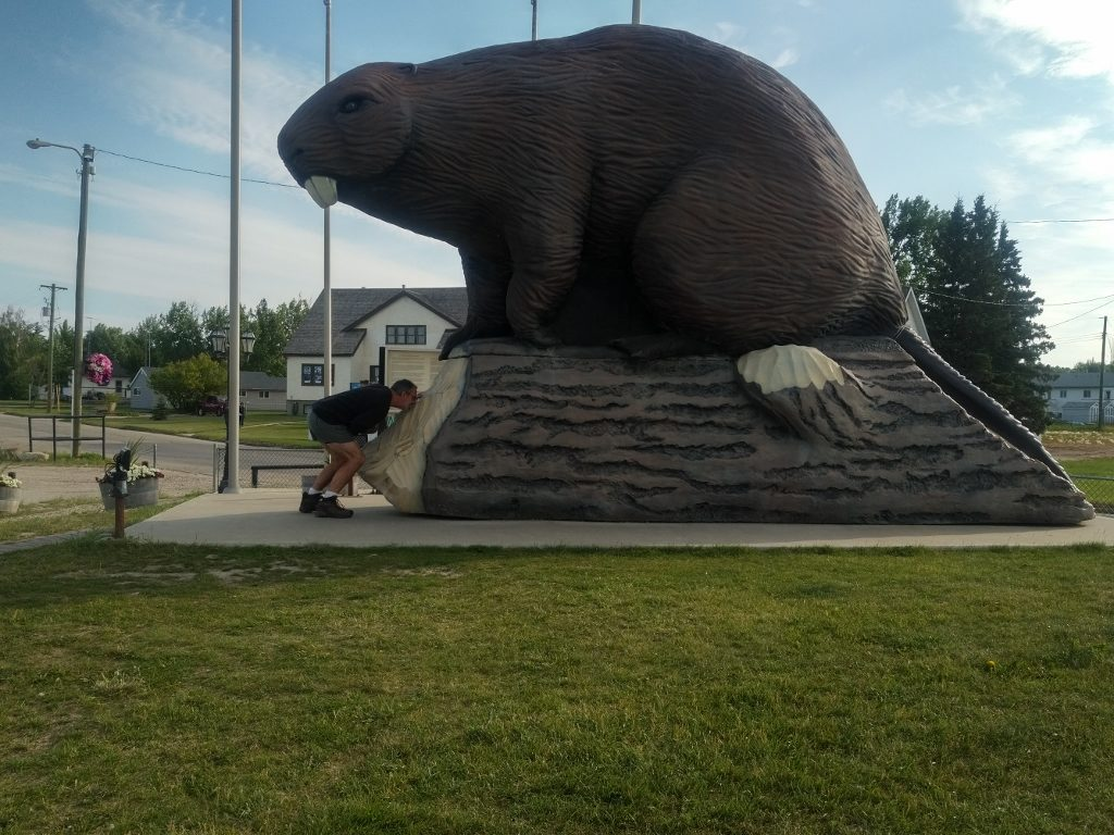 Matt kissing the beaver