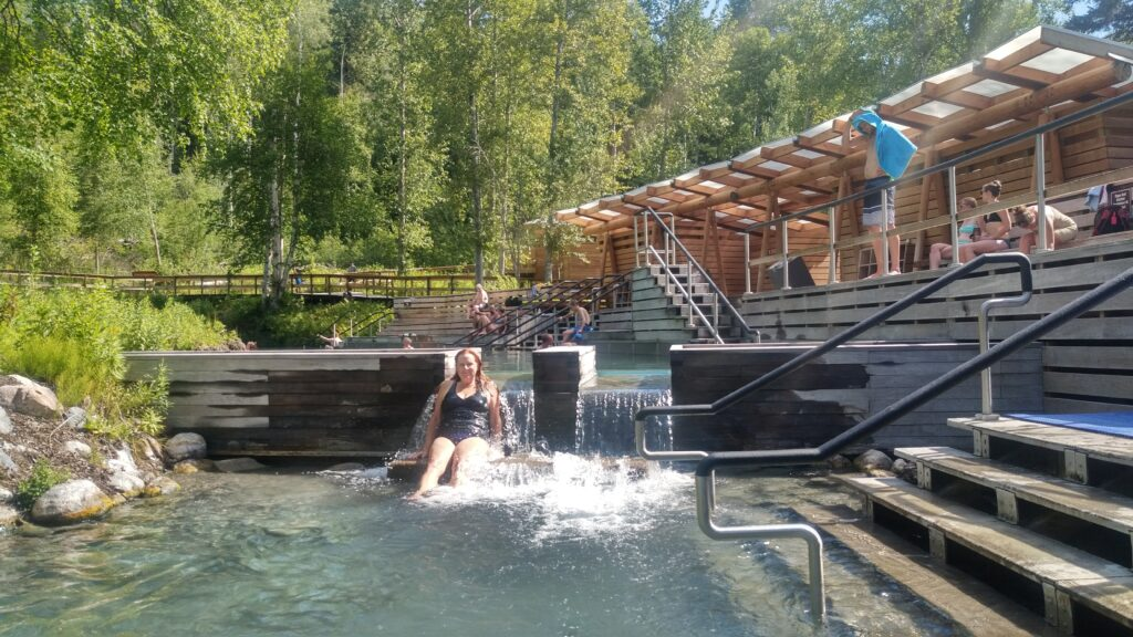 Enjoying the hot spring at Liard River Hot Spring Provincial Park.