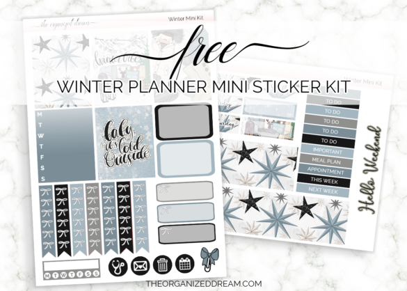 Free winter planner mini sticker kit. #plannerstickers #freeprintable