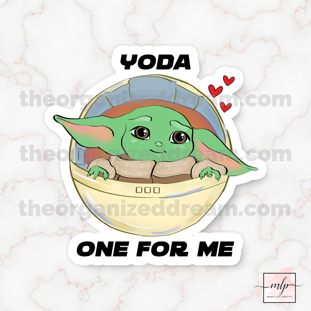 Baby Yoda Valentine die cut and tea time stickers.