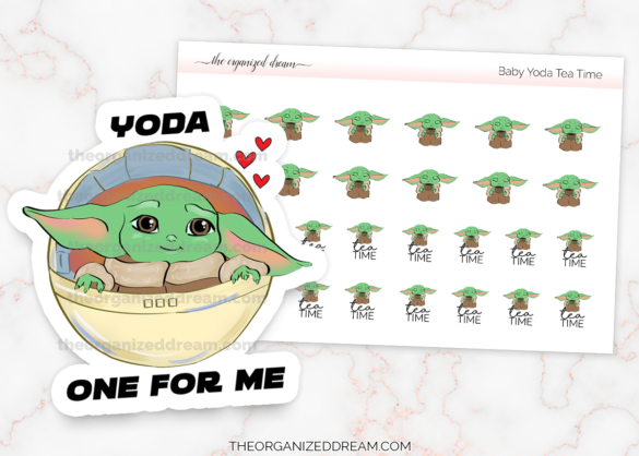 Baby Yoda Valentine die cut and tea time stickers. #plannerstickers #valentinesday