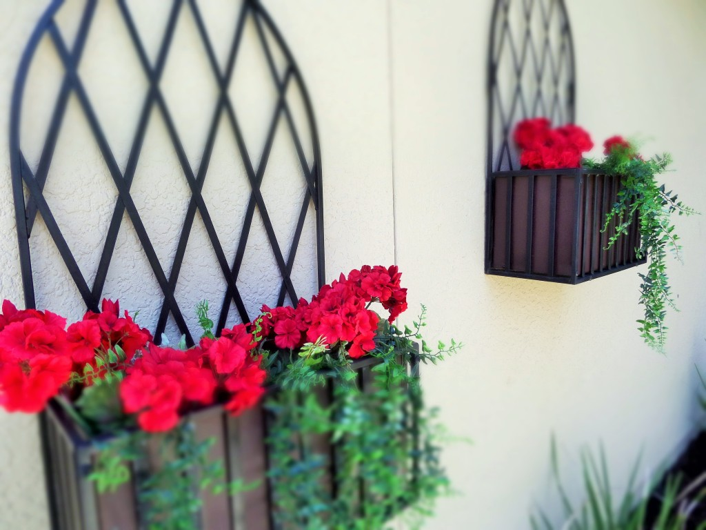 Iorn flower wall boxes