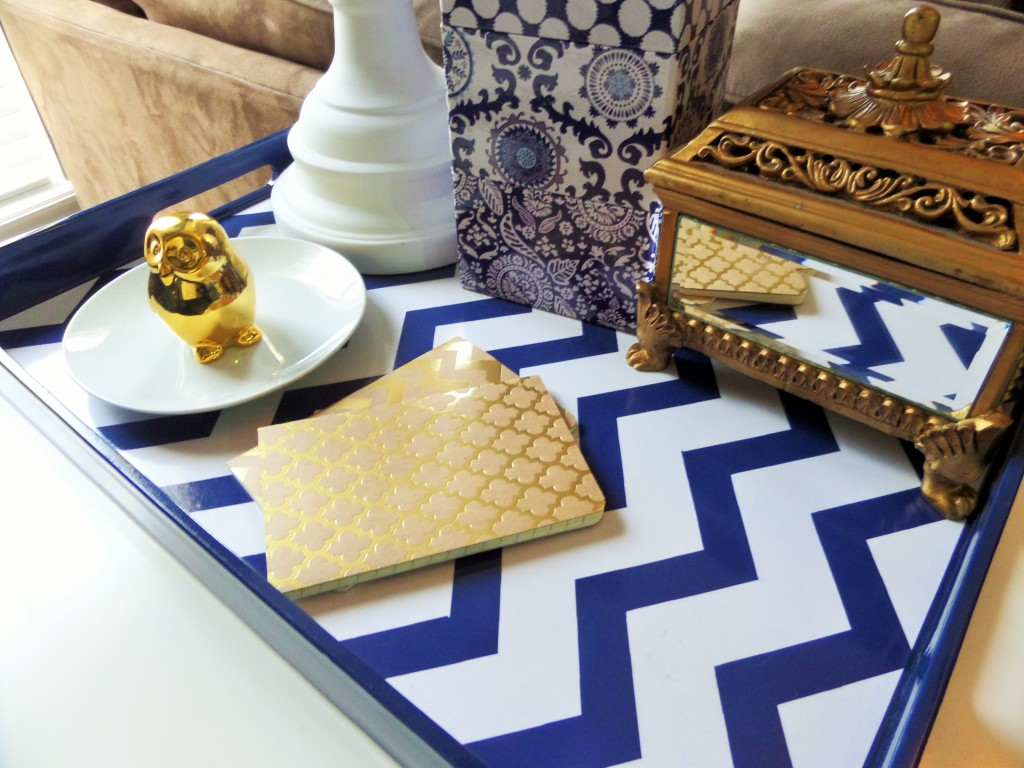 navy blue and white chevron tray