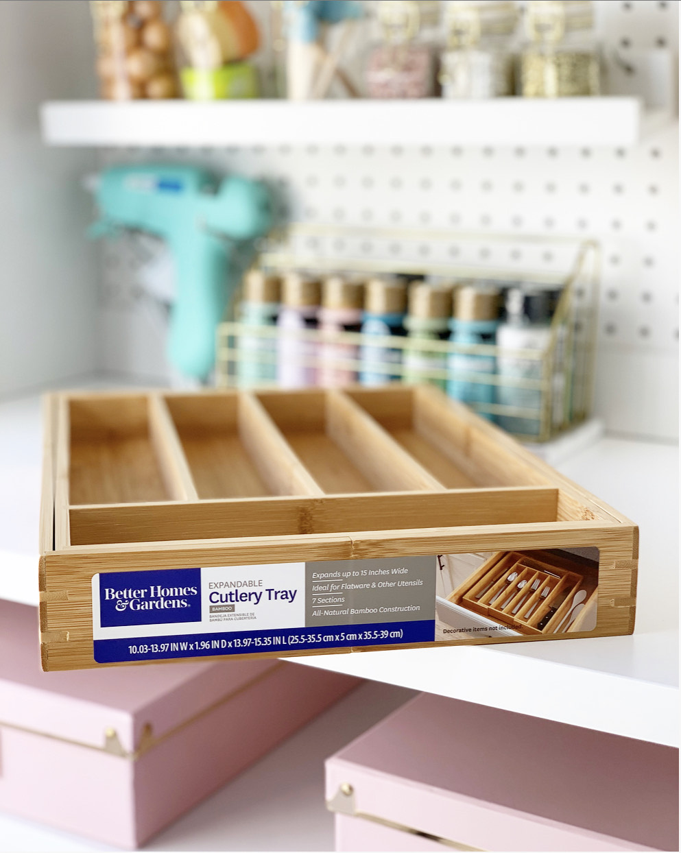 Better Homes & Gardens Expandable Bamboo Utensil and Cutlery Organizer