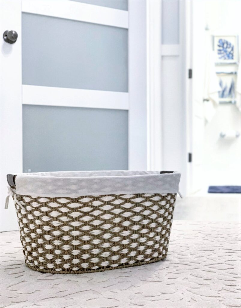 Better Homes & Gardens Seagrass Laundry Basket- Natural and White