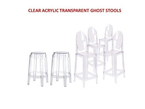 Clear Ghost round back bar stools