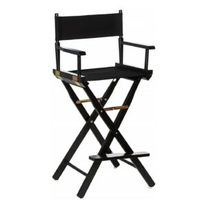 Black frame with black seat Directors Chair for rent