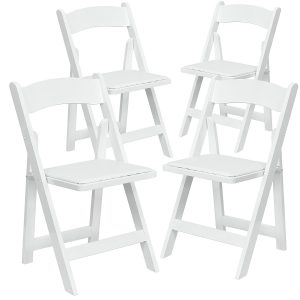 Chairs folding resin, and wood white for rent