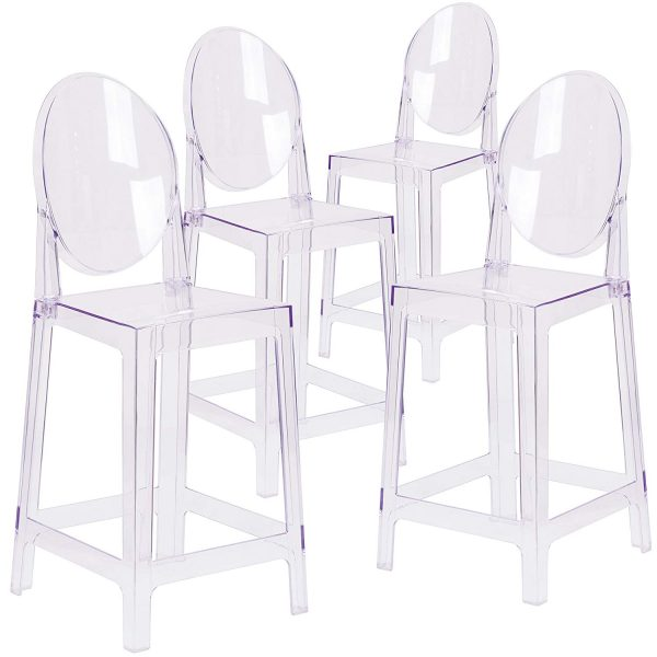 Clear Ghost Round Back Bar Stools for rent
