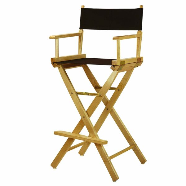 "Director's Chair ,Natural Frame/Black Canvas,30"" - Bar Height"