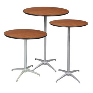 Cocktail Tables, Pub Tables, High Boy Tables for rent.