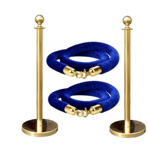gold and blue stanchions