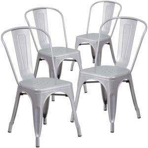 755 Bistro Chair Pewter Metal