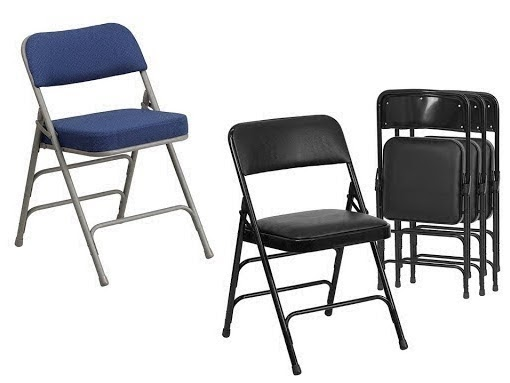 black corporate folding chair