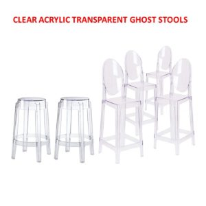 Clear Ghost Round Back And Backless Bar Stools