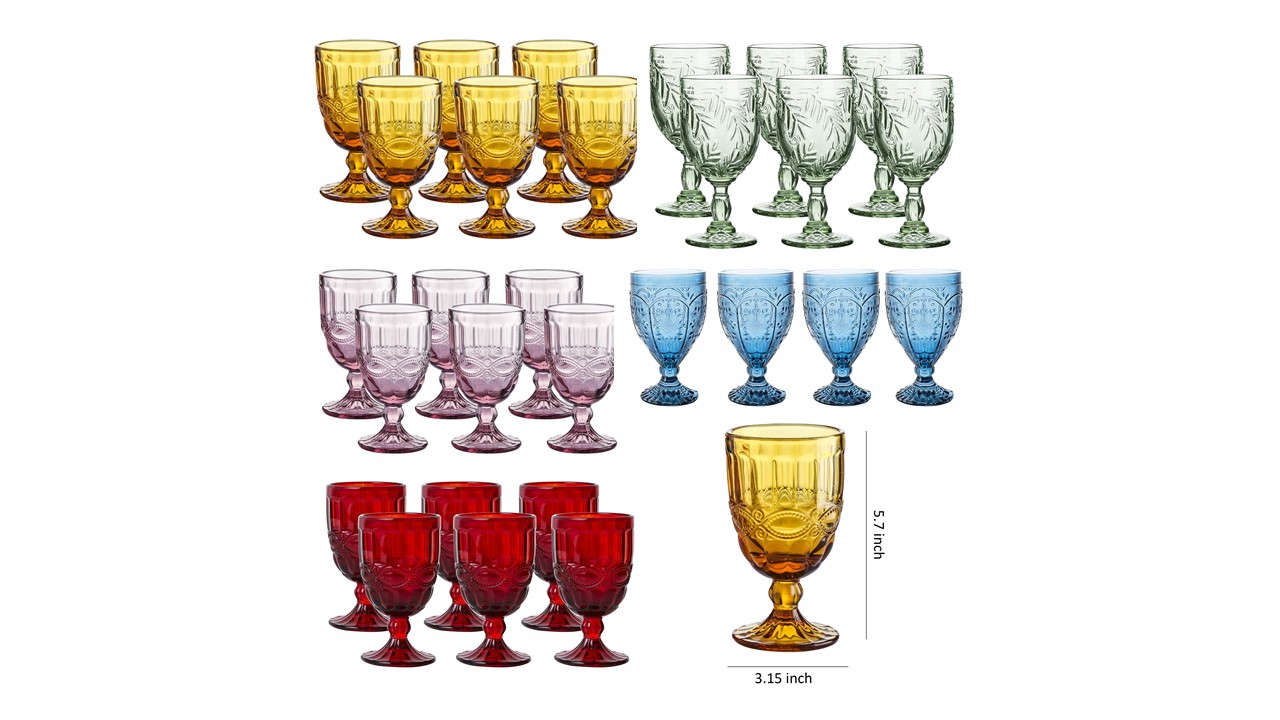 555 Vintage Glass Colored Goblets