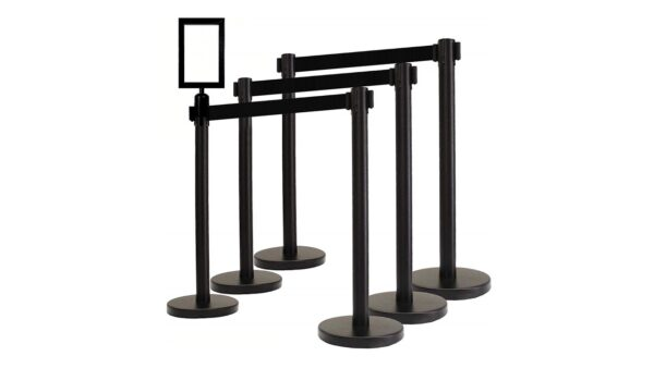 Black retractable stanchions for rent