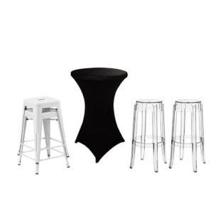 Spandex Black With Cocktail Tables