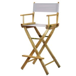 Bar Stools Directors Chairs Natural Frame-with White Canvas,