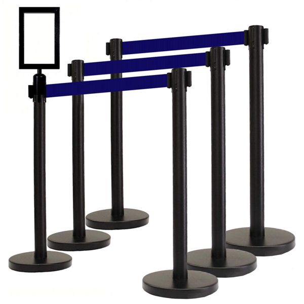 Retractable Stanchions blue belt