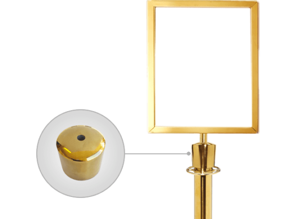 gold stanchion sign holder