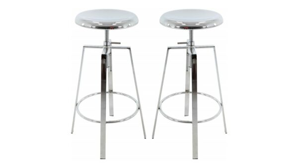 Brage Backless Round Seat Adjustable Height Bar Stools chrome