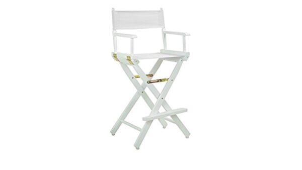 Directors Chairs White with White Wood Frame