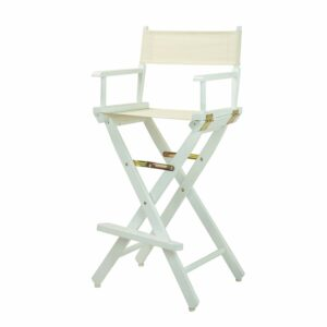 "Director's Chair ,White Frame/Natural/Wheat Canvas,30"" - Bar Height"