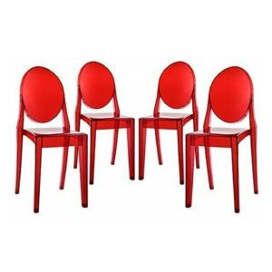 Stackable Ghost red Round Back Chair for Rent