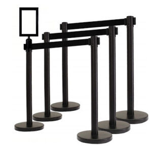 A Retractable Stanchions Black
