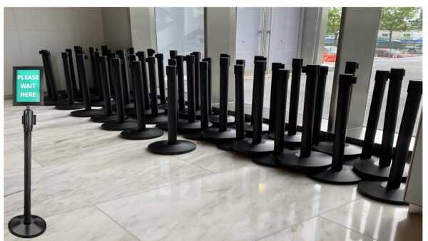 Stanchions Black Retractable with sign holder